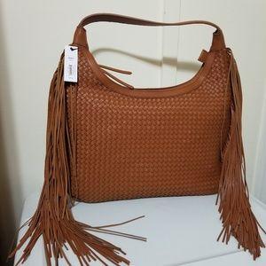 Cognac Basket Weave Fringe Sonoma Hobo Purses